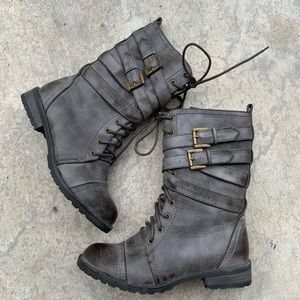 Charlotte Russe gray tall buckle moto combat boot